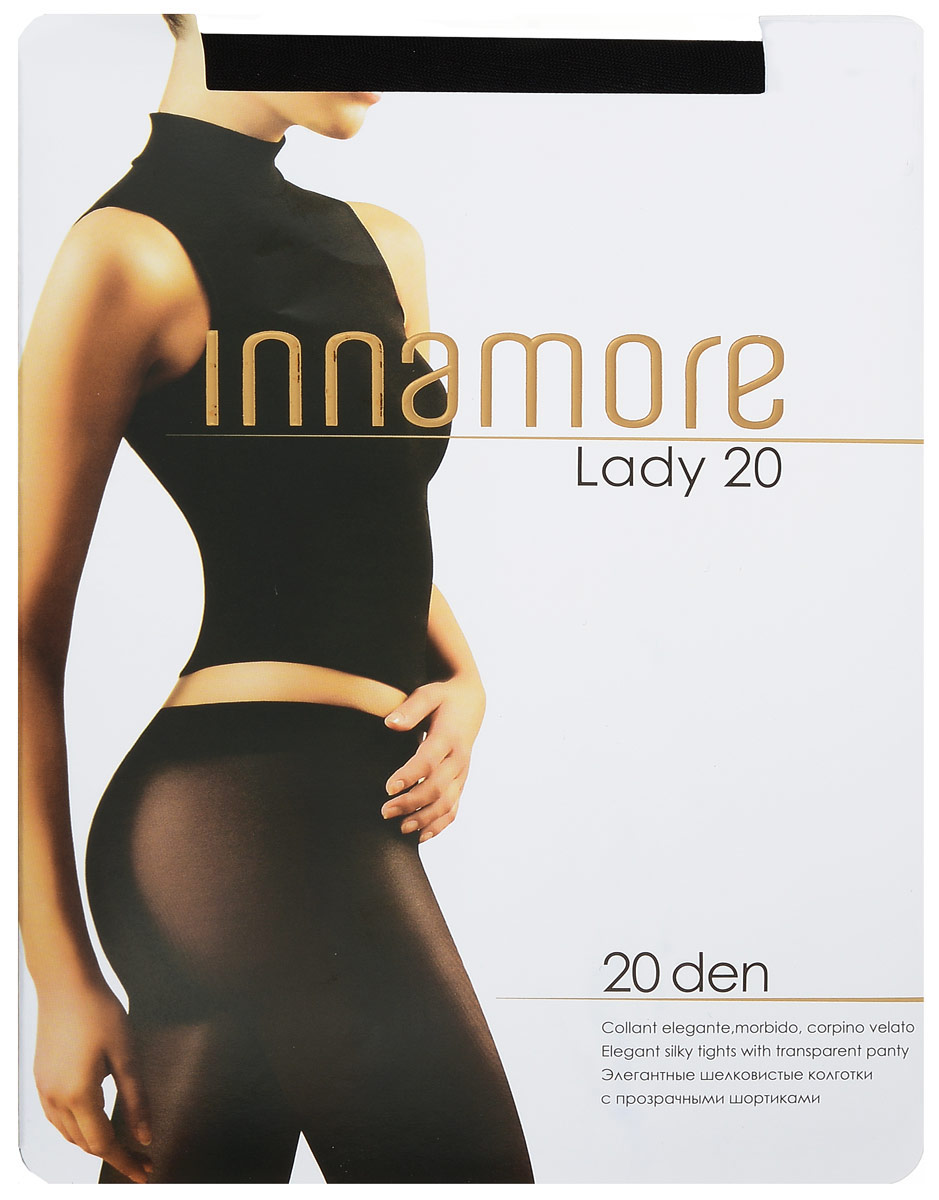 Колготки женские Innamore Lady 20, цвет: Nero (черный). 53868. Размер 2 (42/44)53868Стильные классические колготки Innamore Lady 20, изготовленные из эластичного полиамида, идеально дополнят ваш образ и подчеркнут элегантность и стиль.Тонкие шелковистые колготки легко тянутся, что делает их комфортными в носке. Гладкие и мягкие на ощупь, они имеют анатомическую ластовицу, плоские швы, комфортный широкий пояс и укрепленный прозрачный мысок. Идеальное облегание и комфорт гарантированы при каждом движении.Плотность: 20 den.