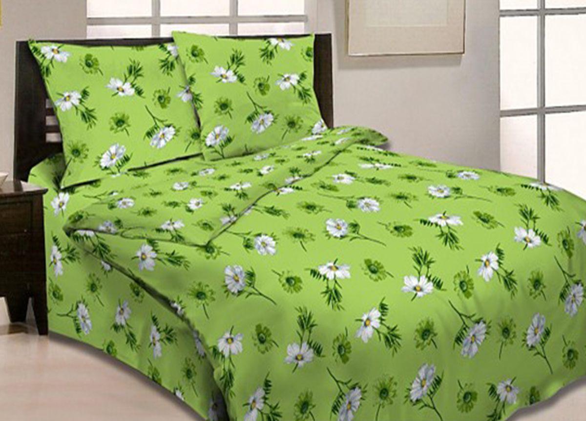 Комплект белья Primavera Ромашковый вальс, 1,5-спальный, наволочки 70x70, цвет: зеленый86572Наволочки с декоративным кантом особенно подойдут, если вы предпочитаете класть подушки поверх покрывала. Кайма шириной 5-10см с трех или четырех сторон делает подушки визуально более объемными, смотрятся они очень аккуратно, даже парадно. Еще такие наволочки называют оксфордскими или наволочками «с ушками».Сатин – прочная и плотная ткань с диагональным переплетением нитей. Хлопковый сатин по мягкости и гладкости уступает атласу, зато не будет соскальзывать с кровати. Сатиновое постельное белье легко переносит стирку в горячей воде, не выцветает. Прослужит комплект из обычного сатина меньше, чем из сатина повышенной плотности, но дольше белья из любой другой хлопковой ткани. Сатин приятен на ощупь, под ним комфортно спать летом и зимой.Производство «Примавера» находится в Китае, что позволяет сократить расходы на доставку хлопка. Поэтому цены на это постельное белье более чем скромные и это не сказывается на качестве. Сатин очень гладкий, мягкий, но при этом, невероятно прочный. Он прослужит вам действительно долго и не полиняет. Для нанесения рисунков используют только безопасные для окружающей среды и здоровья человека красители.