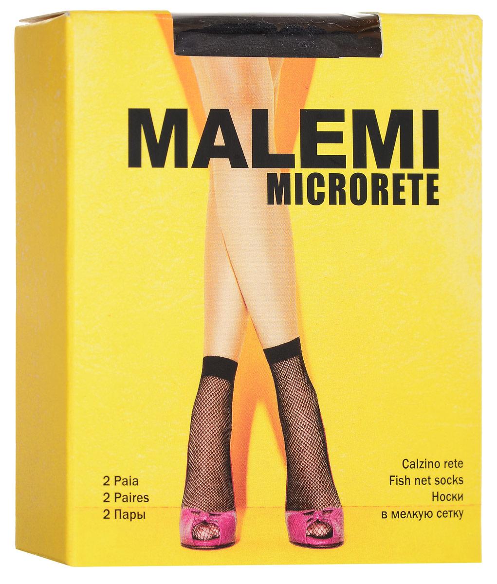 Носки женские Malemi Microrete, цвет: Nero (черный), 2 пары. 13189. Размер универсальный гольфы женские malemi soft 40 цвет nero черный 9067 размер универсальный