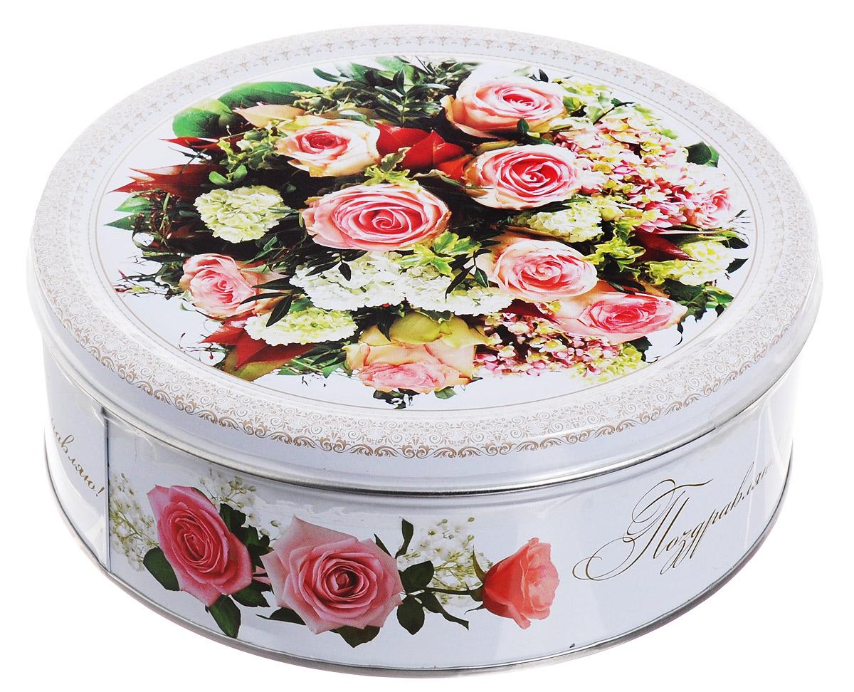 Monte Christo Розовый этюд печенье с кокосовой стружкой, 400 гMC-4-26Печенье Monte Christo в нежной банке с изображением букета роз станет отличным подарком на любой праздник для прекрасной женщины. Печенье с кокосовой стружкой не только вкусное, но и полезное. Натуральные ингредиенты, сливочное масло, кукурузный крахмал и пшеничная мука, входящие в состав продукта, содержат целый ряд витаминов, минералов и аминокислот.Подарочные банки, так же, как и печенье, производятся на российской фабрике в городе Иваново. После того, как печенье закончится, можно использовать как декоративную шкатулку для хранения различных мелочей, фотографий или других сладостей.