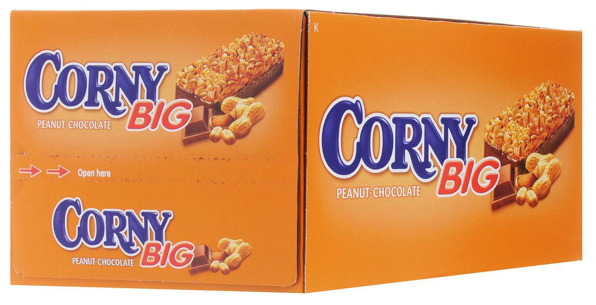 цены  Corny Big злаковая полоска с арахисом и молочным шоколадом, 24 шт