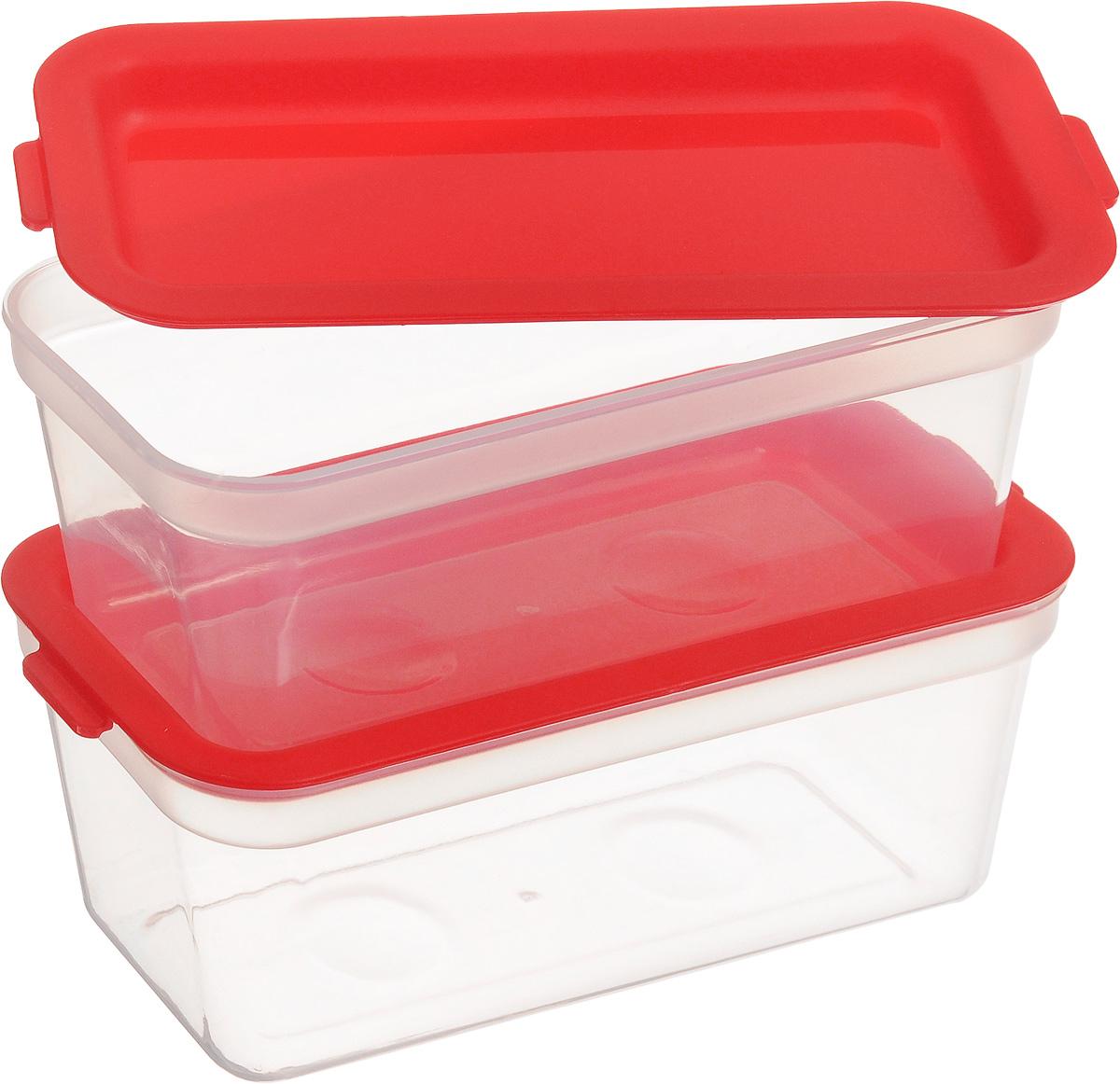 """Набор Tescoma """"Purity"""", выполненный из высококачественного пищевого прозрачного пластика, состоит из двух контейнеров. Изделия предназначены для хранения и транспортировки пищи. Крышки легко открываются и плотно закрываются с помощью легкого щелчка. Контейнеры удобно складываются друг в друга, что экономит пространство при хранении в шкафу.   Подходят для заморозки и для использования в микроволновой печи без крышки. Можно мыть в посудомоечной машине.     Объем контейнера: 300 мл. Размеры: 13,5 х 6,5 х 6 см."""