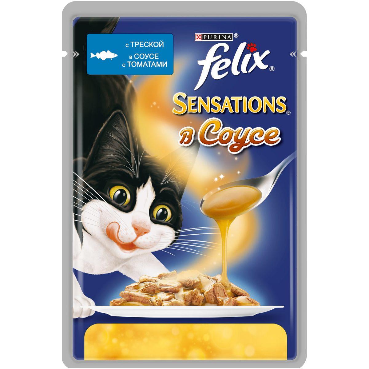 Консервы для кошек Felix Sensations, с треской в соусе с томатами, 85 г7613034957894Консервы для кошек Felix Sensations - консервированный полнорационный корм для взрослых кошек, с треской в соусе с томатами. Корм Felix Sensations - это необыкновенно вкусный корм для кошек с нежными мясными кусочками в соусах с разными вкусами для неожиданных вкусовых ощущений. Вам питомец не сможет устоять перед аппетитным внешним видом, ароматом и вкусом этого потрясающего корма. Корм содержит Омега-6 жирные кислоты, а также правильное сочетание белка и витаминов для полного удовлетворения ежедневных потребностей вашей кошки.Состав: мясо и продукты переработки мяса, экстракт растительного белка, рыба и продукты переработки рыбы (треска 4%), минеральные вещества, сахара, красители, витамины. Добавленные вещества (на 1 кг): витамин А 780 МЕ; витамин D3 120 МЕ; витамин Е 17 МЕ; железо 9 мг; йод 0,22 мг; медь 0,7 мг; марганец 1,7 мг; цинк 16 мг; таурин 490 мг; ароматизатор бекона 30 мг. Гарантируемые показатели: влажность 79%, белок 13,2%, жир 3,2%, сырая клетчатка 0,1%, сырая зола 2,3%, линолевая кислота (Омега-6 жирные кислоты) 0,4%.Энергетическая ценность (на 100 г): 81 ккал. Товар сертифицирован.