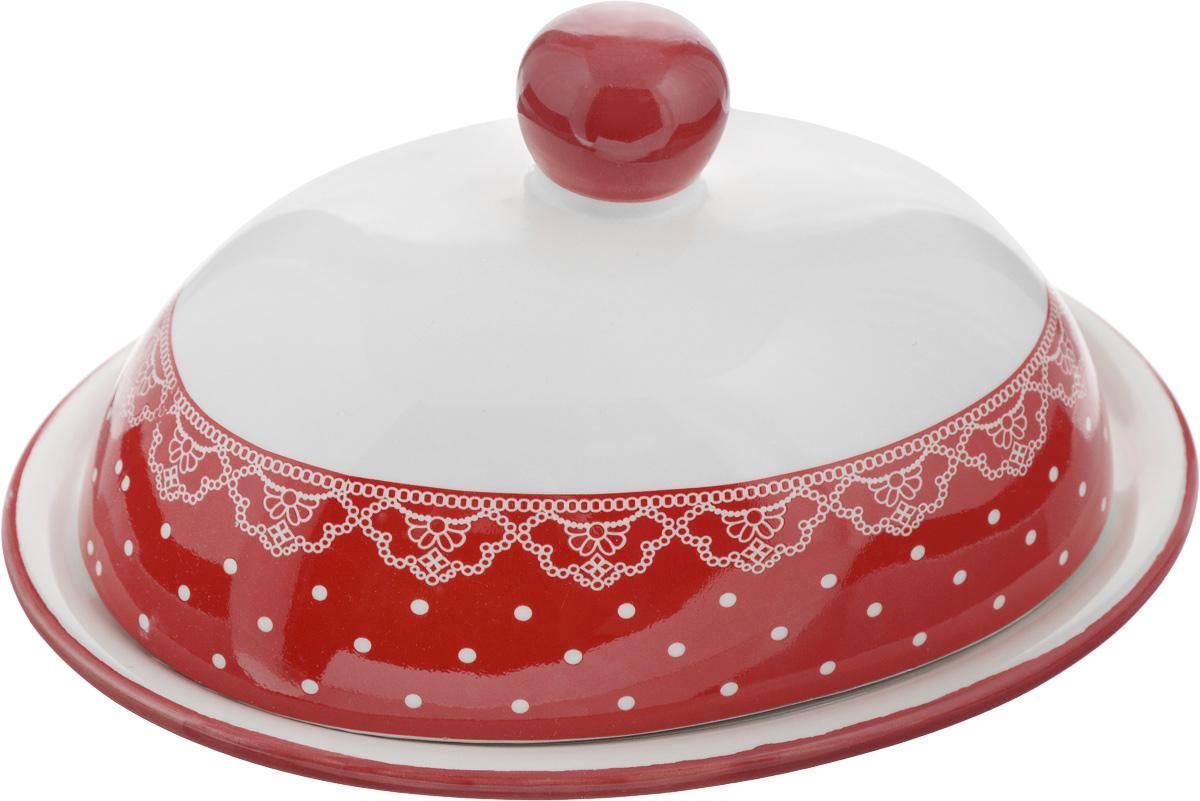 Масленка Loraine Красный узор. 2581125811Масленка Loraine Красный узор, выполненная из высококачественного доломита в виде подноса с крышкой, станет незаменимым помощником на вашей кухне. Изделие оформлено оригинальным узором и имеет изысканный внешний вид. Масленка предназначена для красивой сервировки стола и хранения масла. Можно мыть в посудомоечной машине, использовать в микроволновой печи и хранить в холодильнике. Размер подноса: 17,5 х 13,3 х 1,5 см. Высота масленки (с учетом крышки): 10 см.