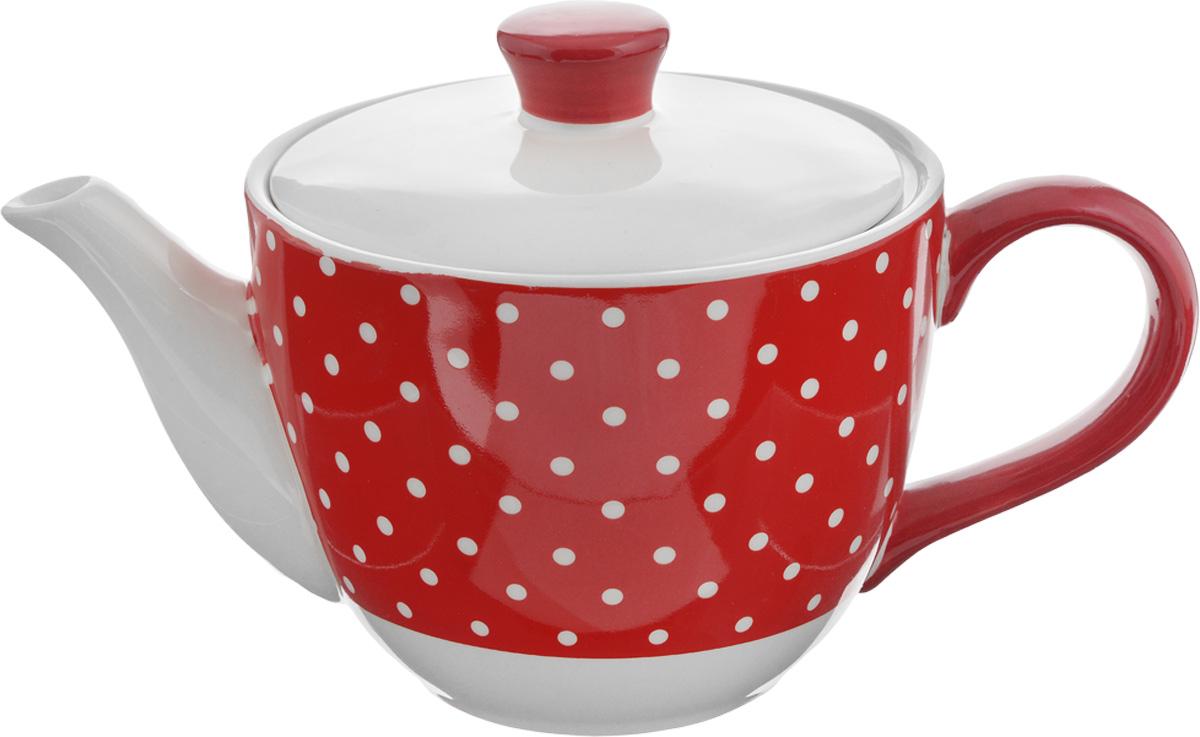 Чайник заварочный Loraine Красный узор, 900 мл. 2585925859Заварочный чайник Loraine Красный узор изготовлен из высококачественной керамики и оформлен красочным рисунком. Гладкая и идеально ровная поверхность обеспечивает легкую очистку. Чайник поможет заварить крепкий ароматный чай и великолепно украсит стол к чаепитию. Не боится низких температур. Можно мыть в посудомоечной машине.Диаметр чайника (по верхнему краю): 13,5 см. Диаметр основания: 7,5 см. Высота чайника (без учета крышки): 10,5 см. Высота чайника (с учётом крышки): 15 см.