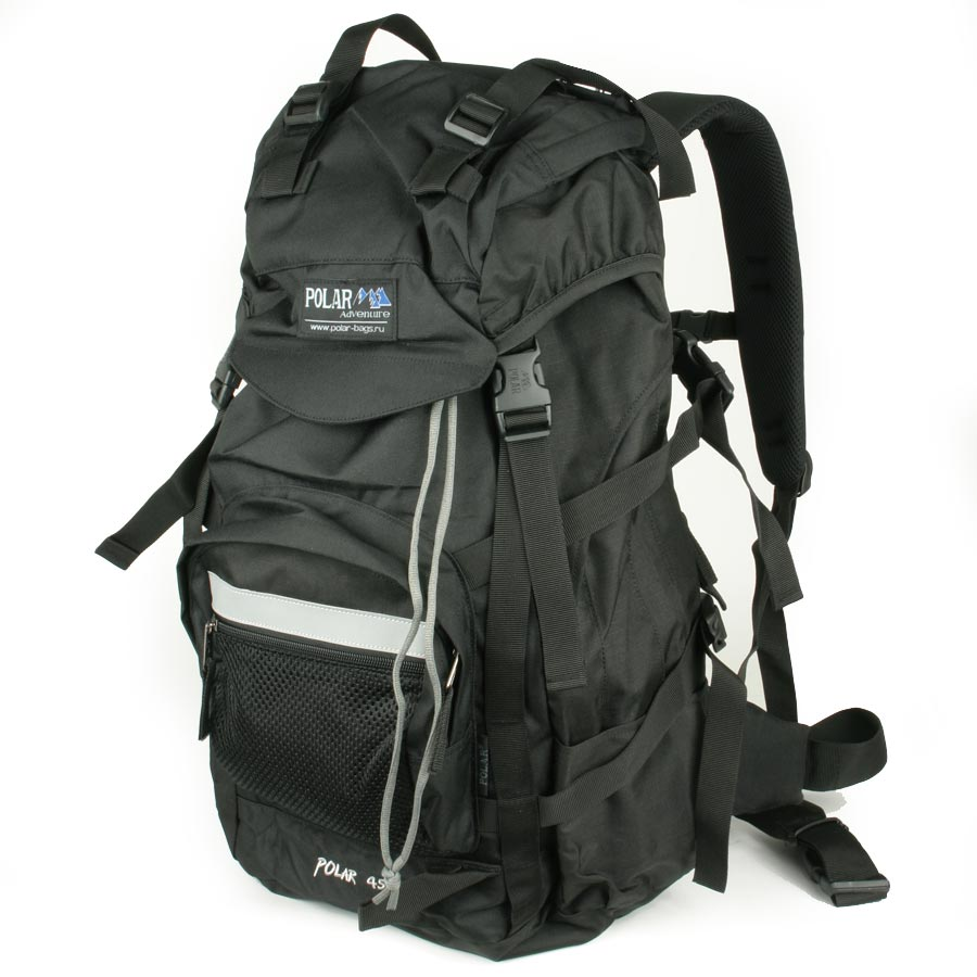Рюкзак экспедиционный Polar, цвет: черный, 45 л. П301-05П301-05Фирменный туристический рюкзак Polar выполнен из полиэстера с водоотталкивающей пропиткой. Жесткая спинка с металлическим каркасом. Удобный лямки повторяющие форму плеча уменьшают нагрузку на спину и делают этот рюкзак очень удобным при эксплуатации. Так же предусмотрены грудная и поясничная стяжки лямок. На поясничной стяжке с левой стороны небольшой карман на молнии для мелких предметов. Одно отделение. Карман с органайзером и карманом из трикотажной сетки на молнии внутри. Карман из трикотажной сетки на молнии для мелких предметов. Два боковых кармана из основной ткани. Клапан с двумя карманами на молнии. Стяжки для регулирования объема. Этот рюкзак идеально подойдет для недолговременных походов и позволит Вам взять с собой все необходимое.