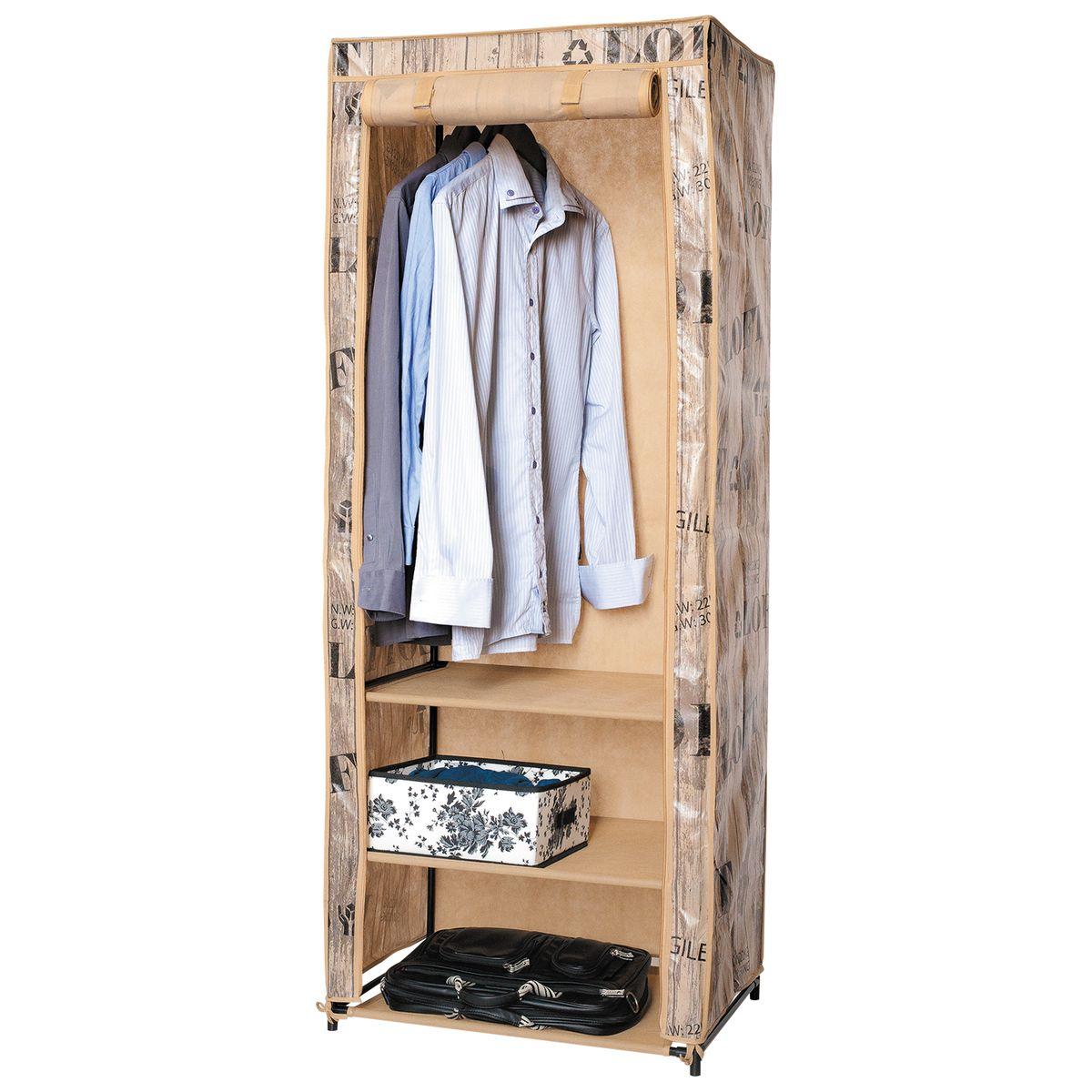 Шкаф для одежды Artmoon Loft, складной с чехлом, 61x45x155 см699553Складной шкаф из окрашенной стали и пластика, стильный прочный водонепроницаемый чехол.Особенности:- Складной шкаф, размеры 61х45х155.- Модный дизайн LOFT, чехол на молнии защитит одежду от пыли и влаги, дверца сворачивается рулоном и фиксируется липучкой для легкого доступа.- 3 полки и штанга для вешалок-плечиков – оптимальная конфигурация для хранения одежды.- Сталь, АБС-пластик, полиэстр с пропиткой (OXFORD) – долговечные легкие и прочные материалы- Компактная упаковка, быстрая сборка без инструментов, инструкция на упаковке.