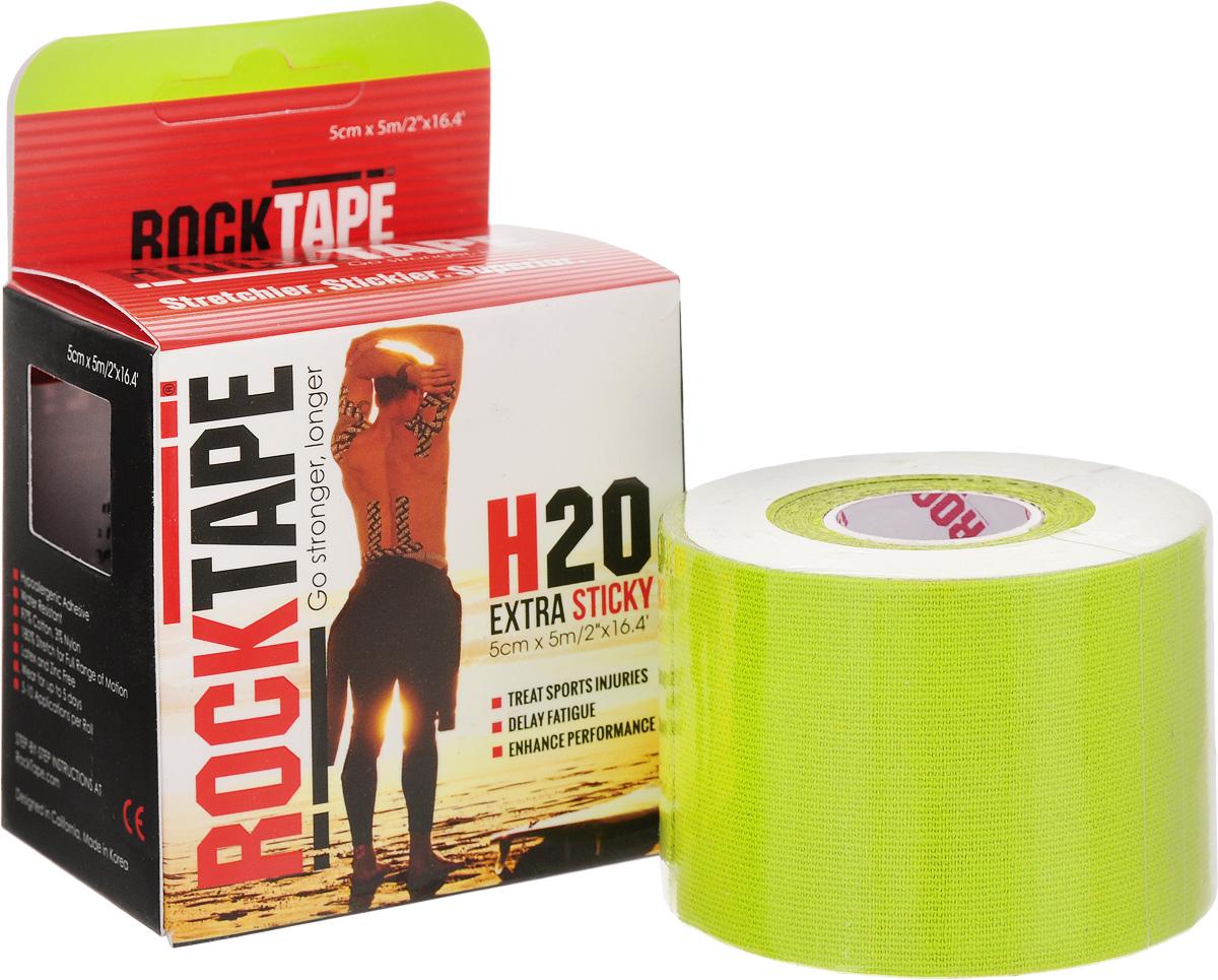 """Кинезиотейп Rocktape """"H2O"""", цвет: салатовый, 5 х 500 см"""