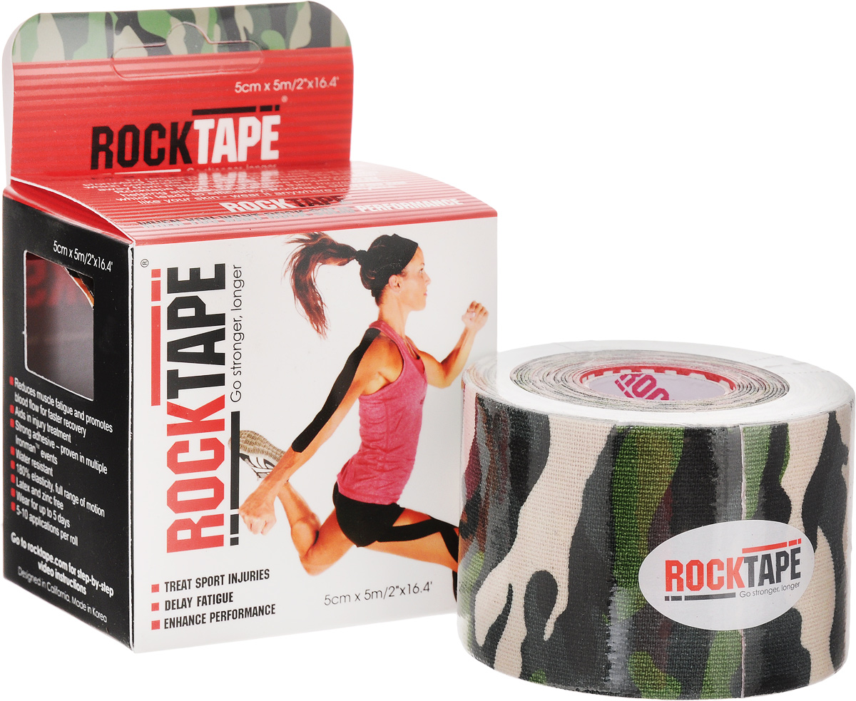 """Кинезиотейп Rocktape """"Design"""", цвет: зеленый, черный, белый, 5 x 500 см"""