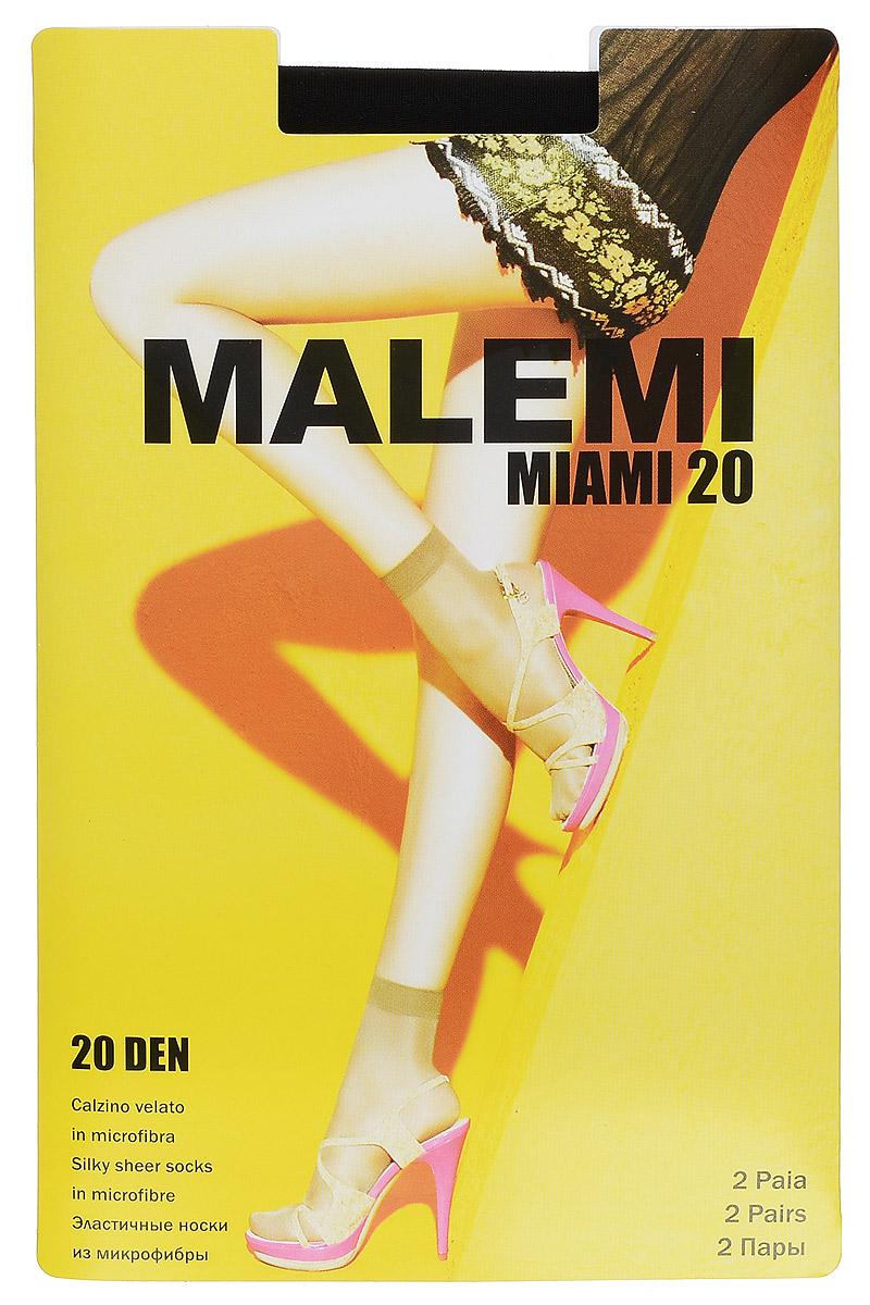 Носки женские Malemi Miami 20, цвет: Nero (черный), 2 пары. 9064. Размер универсальныйMiami 20Удобные женские носки Malemi Miami 20, изготовленные из высококачественного эластичного полиамида, идеально подойдут для повседневной носки. Входящий в состав материала полиамид обеспечивает износостойкость, а эластан позволяет носочкам легко тянуться, что делает их комфортными в носке.Эластичная резинка плотно облегает ногу, не сдавливая ее, обеспечивая комфорт и удобство и не препятствуя кровообращению. Практичные и комфортные матовые носки великолепно подойдут к любой открытой обуви. В комплект входят 2 пары носков.Плотность 20 den.Уважаемые клиенты!Обращаем ваше внимание на возможные изменения в дизайне упаковки. Качественные характеристики товара остаются неизменными. Поставка осуществляется в зависимости от наличия на складе.
