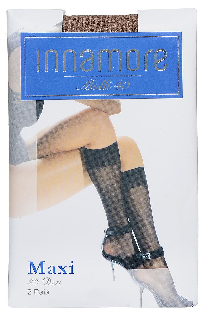 Гольфы женские Innamore Molli 40 Maxi, цвет: Miele (телесный), 2 пары. 492. Размер универсальный492Стильные гольфы Innamore Molli 40 Maxi, изготовленные из эластичного полиамида, идеально дополнят ваш образ в прохладную погоду.Шелковистые гольфы легко тянутся, что делает их комфортными в носке. Гладкие и мягкие на ощупь, они имеют резинку top comfort и укрепленный мысок. Идеальное облегание и комфорт гарантированы при каждом движении. В комплект входят 2 пары гольф.Плотность: 40 den.