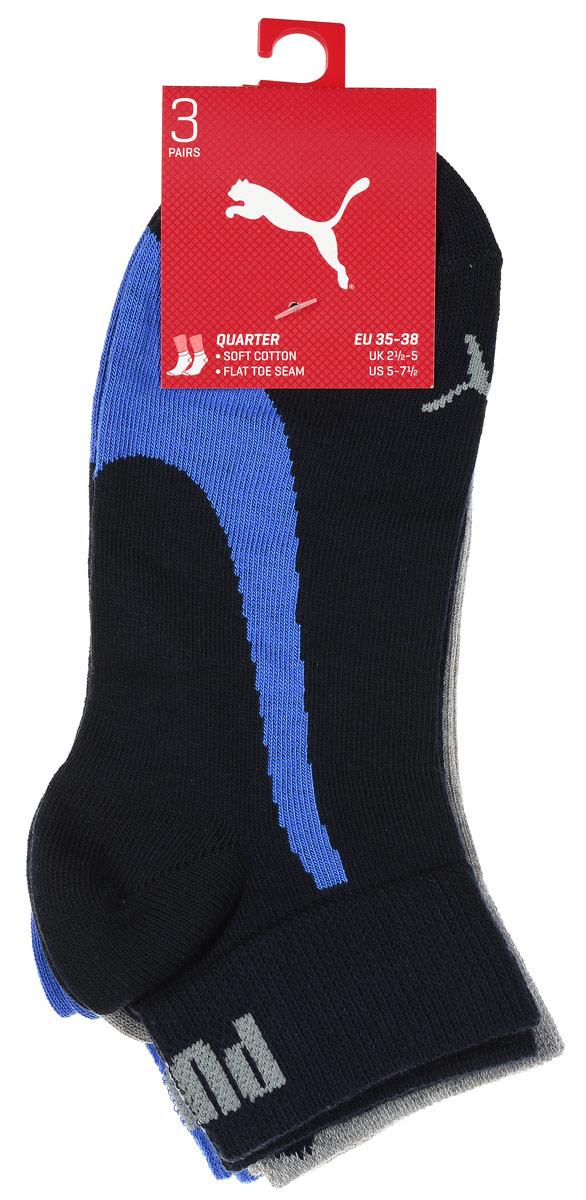 Носки унисекс Puma Lifestyle Quarters, 3 пары, цвет: синий, серый, голубой. 88641303. Размер 35/38 кошельки puma кошелёк rbr lifestyle wallet