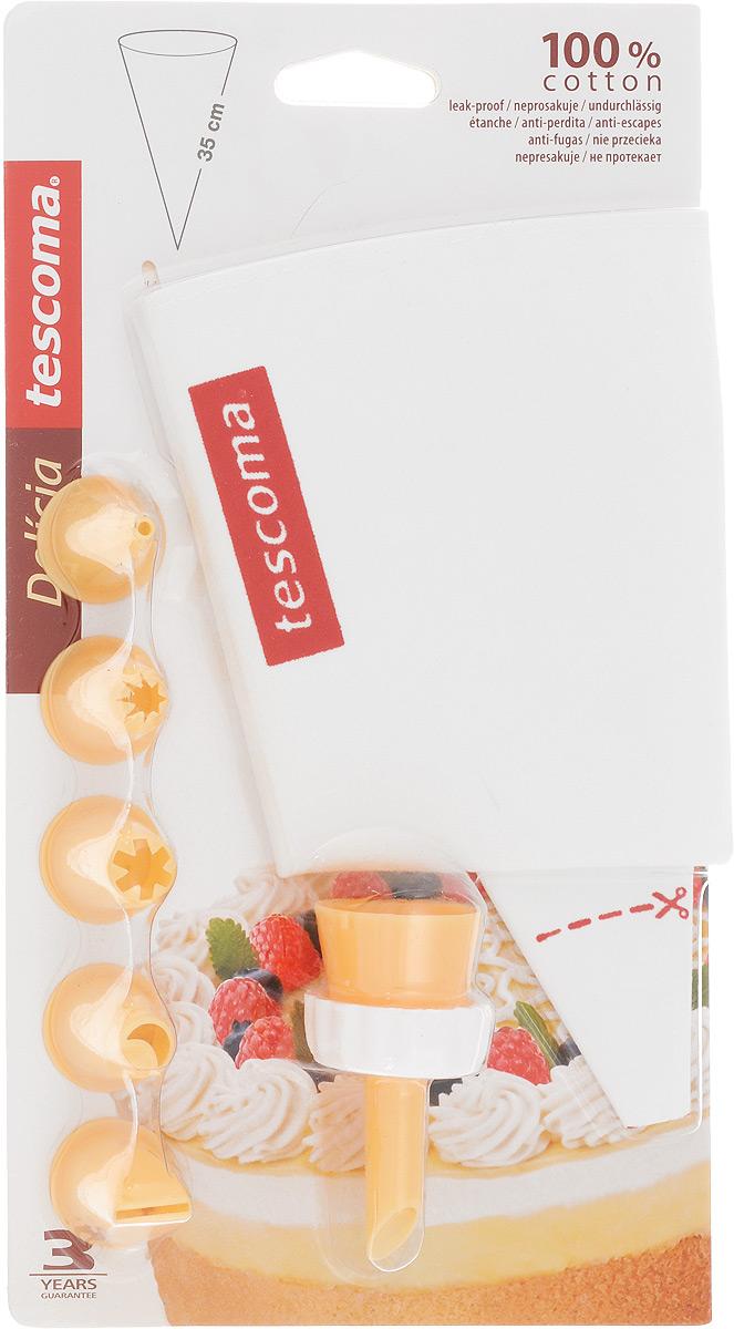 Мешок кондитерский Tescoma Delicia, с 6 насадками. 630487630487Мешок кондитерский Tescoma Delicia, изготовленный из пластика и не протекающего полотна, предназначен для помещения и выдавливания разных кремов, в основном служащих для украшения пирожных и тортов. В наборе к мешку прилагается 6 насадок, имеющих разное сечение и профиль. Кондитерский мешок - превосходный инструмент, который облегчает и ускоряет процесс выпечки печенья, бисквитов, пряников, идеален для украшения десертов и пирогов сливками или заварным кремом, для заполнения пончиков джемом, а также для украшения бутербродов, тостов и канапе паштетом, маслом, плавленым сыром. Праздничный стол требует особого внимания! Благодаря удивительному помощнику - кондитерскому мешку - вы быстро и легко приготовите выпечку любой формы.Количество насадок: 6 шт.Длина мешка: 35 см.Средняя длина насадки: 3 см.