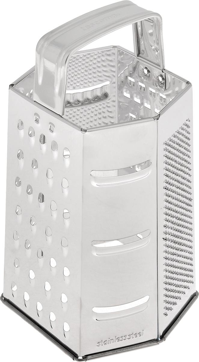 Терка шестигранная Tescoma Handy, цвет: стальной, высота 22 см. 643744643744Шестигранная терка Tescoma Handy, выполненная из высококачественной нержавеющей стали с зеркальной полировкой, станет незаменимым атрибутом приготовления пищи. Сверху на терке расположена эргономичная ручка. Терка замечательна для простого и быстрого измельчения и нарезки продуктов на ломтики. На одном изделии представлены шесть видов терок - крупная, мелкая, терка для овощных пюре, фигурная, шинковка и шинковка фигурная. Современный стильный дизайн позволит терке занять достойное место на вашей кухне.Можно мыть в посудомоечной машине.