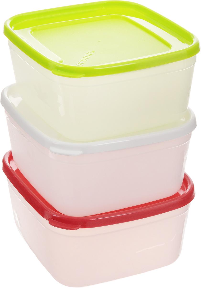Набор контейнеров для заморозки Tescoma Purity, 500 мл, 3 шт891862Набор Tescoma Purity, выполненный из высококачественного пищевого пластика, состоит из трех контейнеров с плотно закрывающимися цветными крышками. Изделия отлично подходят для хранения продуктов в морозильной камере или холодильнике. Контейнеры удобно складываются друг в друга, что экономит пространство при хранении в шкафу.Пригодны для морозильников, холодильников, микроволновых печей. При использовании в микроволновой печи всегда оставляйте крышку приоткрытой. Можно мыть в посудомоечной машине. Объем контейнера: 500 мл.Размер контейнера (без учета крышки): 12 х 12 х 6,7 см.
