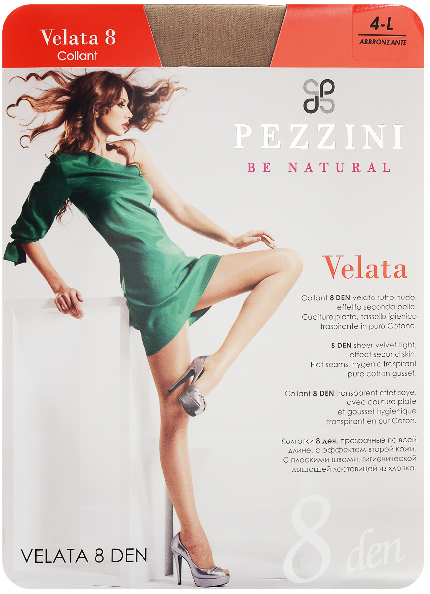 Колготки женские Pezzini Velata 8, цвет: Abbronzante (бронзовый). Ve8-ab. Размер 4 (L)Ve8-abСтильные классические колготки Pezzini Velata 8, изготовленные из эластичного полиамида, идеально дополнят ваш образ и превосходно подойдут к любым платьям и юбкам.Тонкие шелковистые колготки с формованными ножками легко тянутся, что делает их комфортными в носке. Гладкие и мягкие на ощупь, они имеют комфортный мягкий пояс, удобные плоские швы, гигиеническую ластовицу и укрепленный прозрачный мысок. Идеальное облегание и комфорт гарантированы при каждом движении.Плотность: 8 den.