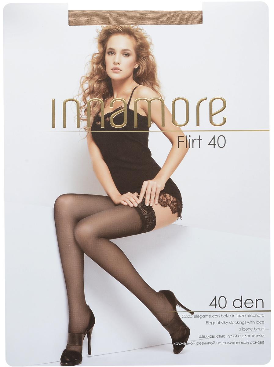 Чулки женские Innamore Flirt 40, цвет: Miele (телесный). 490. Размер 3 (44/46)490Стильные классические чулки Innamore Flirt 40, изготовленные из эластичного полиамида, идеально дополнят ваш образ в прохладную погоду.Шелковистые чулки легко тянутся, что делает их комфортными в носке. Гладкие и мягкие на ощупь, они имеют элегантную кружевную резинку на силиконовой основе и укрепленный мысок. Идеальное облегание и комфорт гарантированы при каждом движении. Плотность: 20 den.