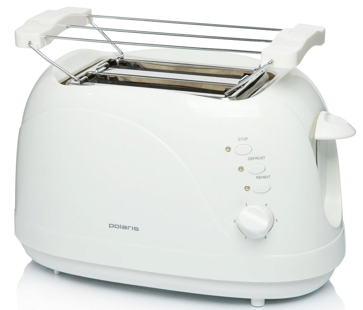 Polaris PET 0702L, White тостерPET 0702L_белыйТостер PET 0702L от Polaris порадует вас возможностью выбрать одну из нескольких степеней поджариванияваших тостов - двух одновременно! Его корпус сконструирован таким образом, чтобы не нагреваться при работе -безопасность на кухне прежде всего. Он умеет не только поджаривать ломтики хлеба, но и подогревать булочкина специальной решетке, и даже размораживать продукты.Чтобы ваше утро стало немного веселей, он поджарит ломтик хлеба, нарисовав на нём озорную улыбку. А кнопкаотмена поможет вовремя исправить сделанную спросонья ошибку. Ещё одна приятная и удобная деталь - поддондля сбора крошек.