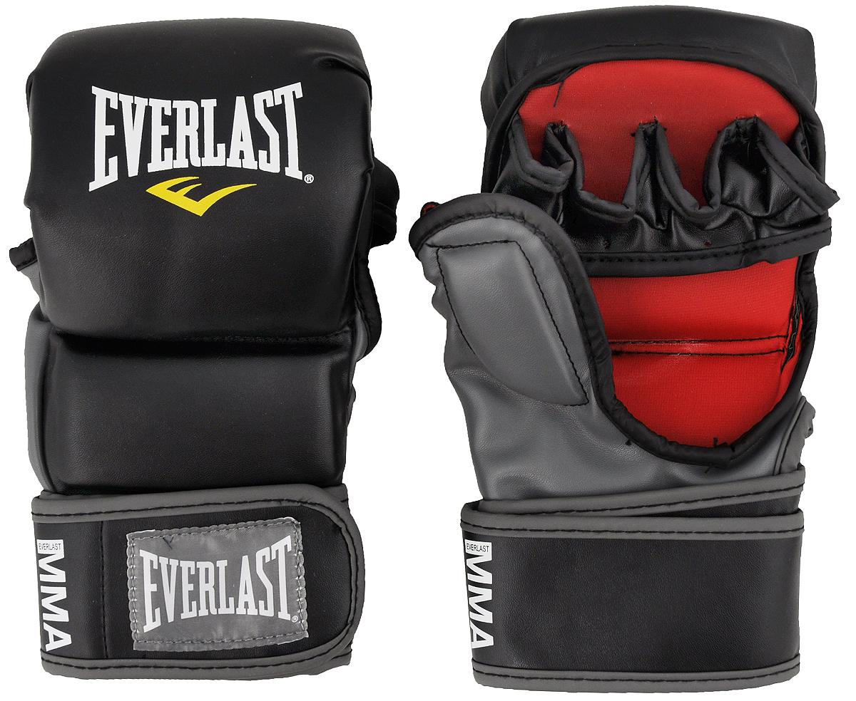 Перчатки тренировочные Everlast MMA Striking. Размер S/M7773SMUТренировочные перчатки Everlast MMA Striking используются для спарринга, отработки ударов и работы в партере. Высококачественный кожзаменитель наряду с превосходным дизайном гарантируют долговечность и функциональность перчаток. Обмотки с застежкой на липучке позволяют подогнать перчатки по размеру.Общая длина перчатки: 23 см.Ширина: 12 см.