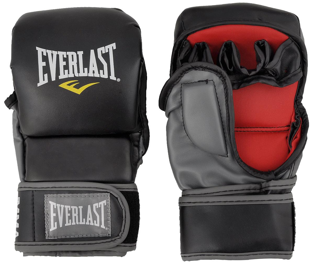 Перчатки тренировочные Everlast MMA Striking. Размер L/XL7773LXLUТренировочные перчатки Everlast MMA Striking используются для спарринга, отработки ударов и работы в партере. Высококачественный кожзаменитель наряду спревосходным дизайном гарантируют долговечность и функциональность перчаток. Обмотки с застежкой на липучке позволяют подогнать перчатки по размеру.Общая длина перчатки: 23 см.Ширина: 12 см.
