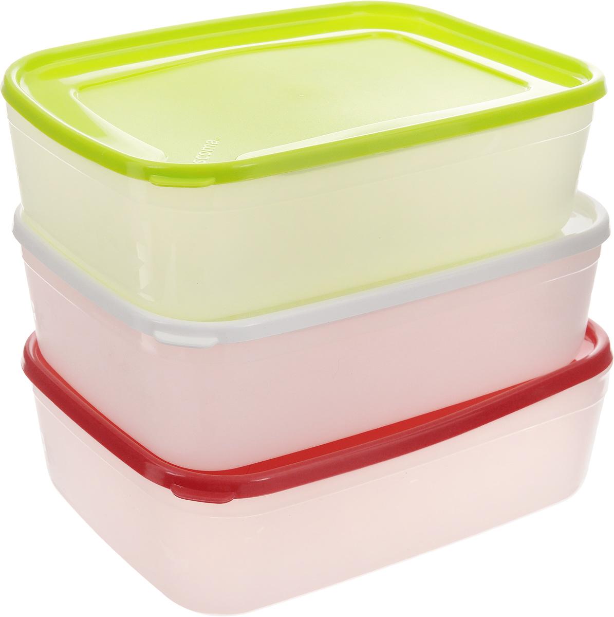 Набор контейнеров для заморозки Tescoma Purity, 1,5 л, 3 шт891866Набор Tescoma Purity, выполненный из высококачественного пищевого пластика, состоит из трех контейнеров с плотно закрывающимися цветными крышками. Изделия отлично подходят для хранения продуктов в морозильной камере или холодильнике. Контейнеры удобно складываются друг в друга, что экономит пространство при хранении в шкафу.Пригодны для морозильников, холодильников, микроволновых печей. При использовании в микроволновой печи всегда оставляйте крышку приоткрытой. Можно мыть в посудомоечной машине. Объем контейнера: 1,5 л.Размер контейнера (без учета крышки): 21 х 14,5 х 6,7 см.