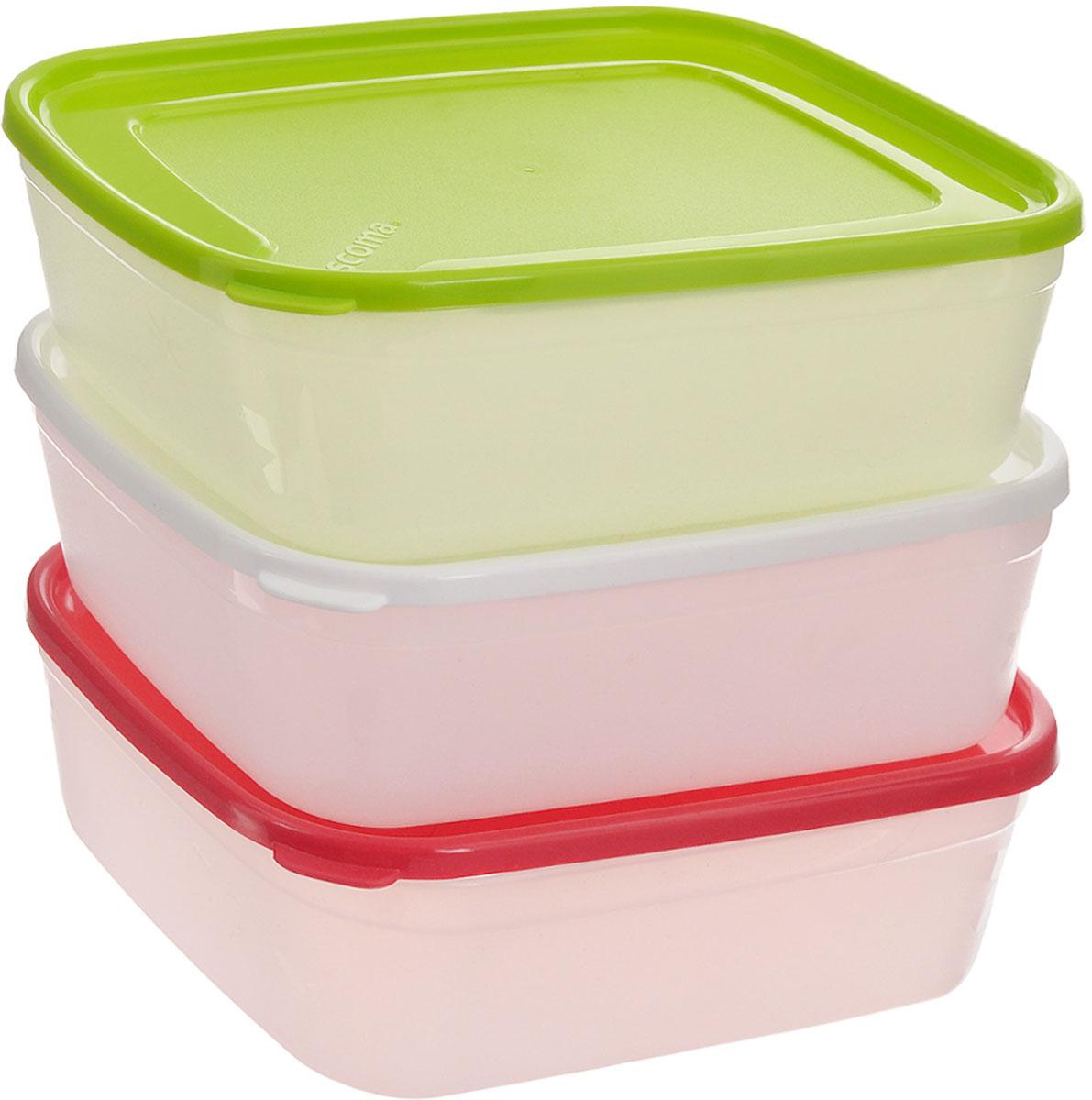 Набор контейнеров для заморозки Tescoma Purity, 1 л, 3 шт891864Набор Tescoma Purity, выполненный из высококачественного пищевого пластика, состоит из трех контейнеров с плотно закрывающимися цветными крышками. Изделия отлично подходят для хранения продуктов в морозильной камере или холодильнике. Контейнеры удобно складываются друг в друга, что экономит пространство при хранении в шкафу.Пригодны для морозильников, холодильников, микроволновых печей. При использовании в микроволновой печи всегда оставляйте крышку приоткрытой. Можно мыть в посудомоечной машине. Объем контейнера: 1 л.Размер контейнера (без учета крышки): 17 х 13 х 6,7 см.