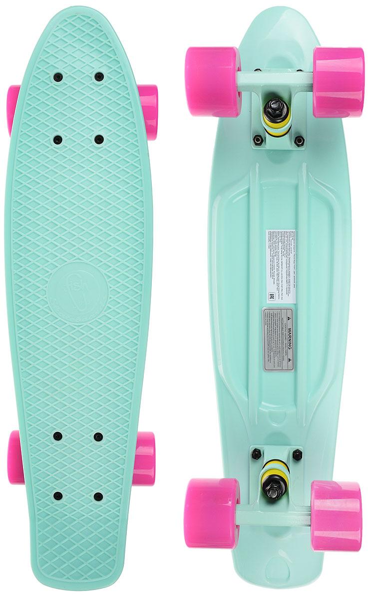 Скейтборд пластиковый Fish, цвет: мятный, розовый, дека 56 х 15 смTLS-401_G+G+PПенни борд Fish подходит для начинающих райдеров, на нем можно кататься в парках, на улице, площадках, с горок, можете добираться на нем до места работы или учебы. Несмотря на небольшие размеры, пенни развивает большую скорость и отлично лавирует. Скейт имеет небольшую длину и маленький вес, поэтому его можно убрать в рюкзак или сумку, нести в руках, он легкий и небольшой. Дека выполнена из высококачественного прочного пластика. Специальный выпуклый рисунок в виде сетки предотвращает скольжение. Подвеска - прочный алюминий. Полиуретановые колеса обеспечивают хорошее сцепление с поверхностью, быстрый разгон и торможение.