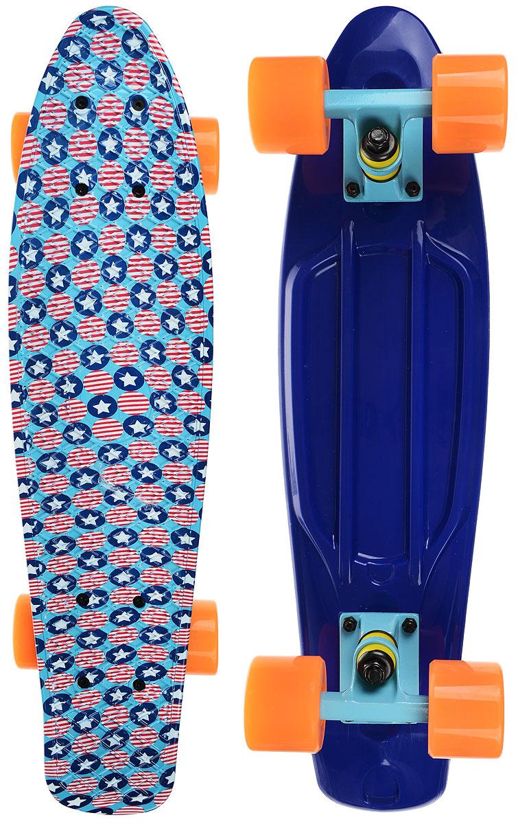 Скейтборд пластиковый Fish Звезды, дека 56 х 15 смTLS-401G _PI159Пенни борд Fish подходит для начинающих райдеров, на нем можно кататься в парках, на улице, площадках, с горок, можете добираться на нем до места работы или учебы. Несмотря на небольшие размеры, пенни развивает большую скорость и отлично лавирует. Скейт имеет небольшую длину и маленький вес, поэтому его можно убрать в рюкзак или сумку, нести в руках, он легкий и небольшой. Дека выполнена из высококачественного прочного пластика. Специальный выпуклый рисунок в виде сетки предотвращает скольжение. Подвеска - прочный алюминий. Полиуретановые колеса обеспечивают хорошее сцепление с поверхностью, быстрый разгон и торможение.