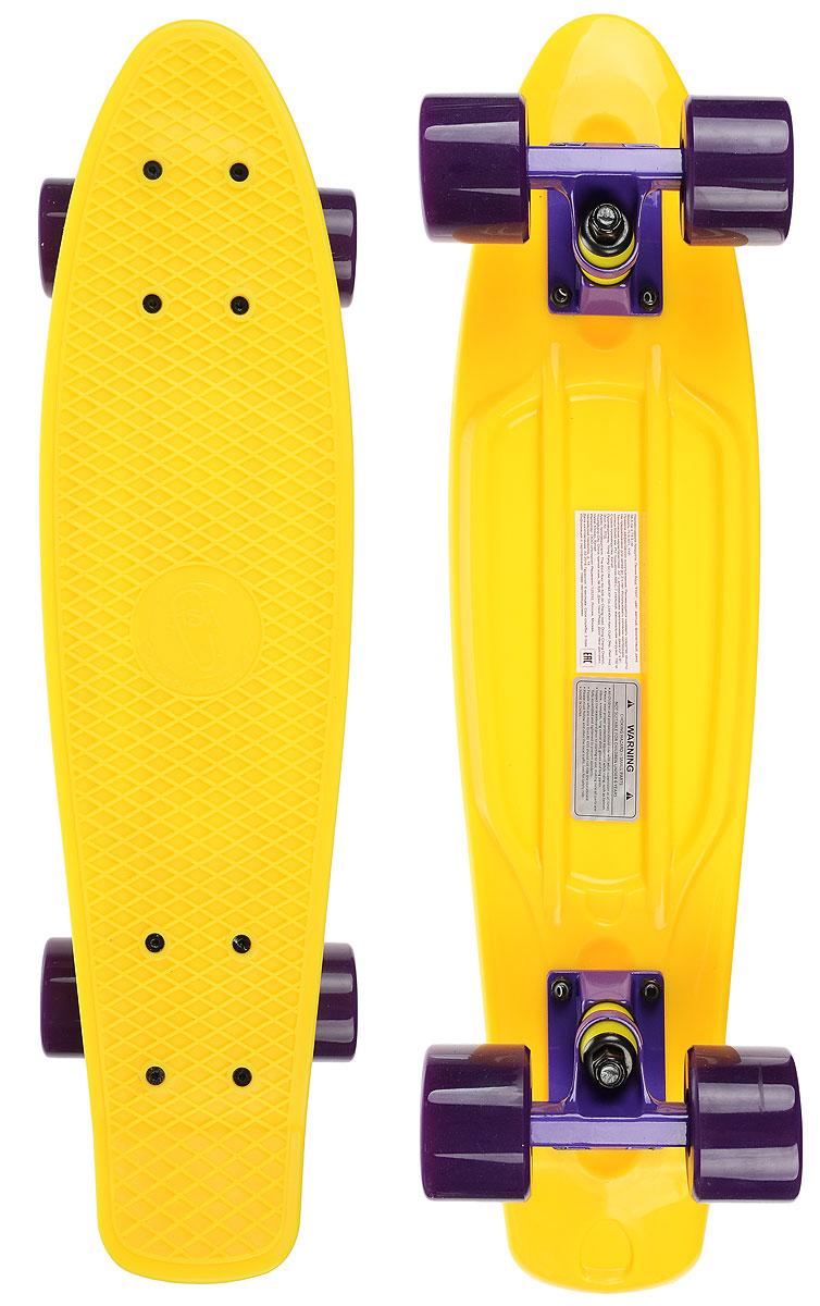 Скейтборд пластиковый Fish, цвет: желтый, фиолетовый, дека 56 х 15 смTLS-401_Y+PПенни борд Fish подходит для начинающих райдеров, на нем можно кататься в парках, на улице, площадках, с горок, можете добираться на нем до места работы или учебы. Несмотря на небольшие размеры, пенни развивает большую скорость и отлично лавирует. Скейт имеет небольшую длину и маленький вес, поэтому его можно убрать в рюкзак или сумку, нести в руках, он легкий и небольшой. Дека выполнена из высококачественного прочного пластика. Специальный выпуклый рисунок в виде сетки предотвращает скольжение. Подвеска - прочный алюминий. Полиуретановые колеса обеспечивают хорошее сцепление с поверхностью, быстрый разгон и торможение.