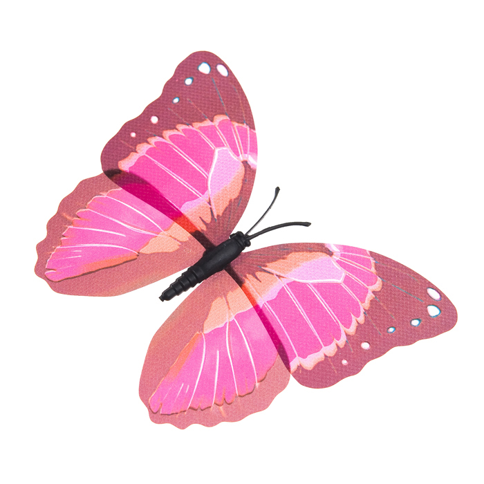 Украшение декоративное Village People Тропическая бабочка, с магнитом, цвет: фуксия, 12 х 8 см. 68610_868610_8Декоративная фигурка Village People Тропическая бабочка изготовлена из ПВХ. Изделие выполнено в виде бабочки и оснащено магнитом, с помощью которого вы сможете поместить изделие в любом удобном для вас месте. Это не только красивое украшение, но и замечательный способ отпугнуть птиц с грядок. Яркий дизайн фигурки оживит ландшафт сада.