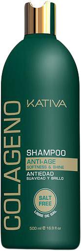 Kativa Коллагеновый шампунь для всех типов волос COLAGENO, 500 мл65502469Профессиональный ухаживающий шампунь Kativa для всех типов волос с коллагеновым комплексом, который восстанавливает структуру, улучшает качество и внешний вид волос, дарит шелковистый блеск. Нежный и легкий по текстуре коллагеновый шампунь тщательно очищает, придает волосам здоровый вид. Противодействует факторам старения волос. Не содержит соли.