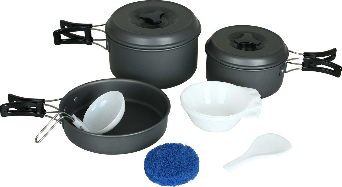 Набор посуды Сплав, 11 предметов5108710Набор посуды Сплав отлично подойдет для приготовления пищи в походе на 2-3 человек. Набор компактно складывается и не занимает много места. Изделия легко моются, а твердый защитный слой, полученный при анодировании, защищает поверхность от коррозии и царапин. Кастрюли и сковородка изготовлены из анодированного алюминия. Специальные крышки ускоряют процесс приготовления пищи и предохраняют ее от насекомых и мелкого мусора. Ручки складываются, позволяя компактно упаковывать посуду. Складной половник, ложка-лопатка и тарелки изготовлены из качественного полипропилена. Для сервировки стола предлагаются 3 глубокие тарелки из полипропилена. А специальная губка позволит вам легко отмыть посуду даже в ледяной воде горных речек.Состав набора:Кастрюля с крышкой и складной ручкой: диаметр: 140 мм, высота: 70 мм, объем: 800 мл, вес кастрюли: 143 г, вес крышки: 67 г.Кастрюля с крышкой и складной ручкой: диаметр: 165 мм, высота: 90 мм, объем: 1600 мл, вес кастрюли: 207 г, вес крышки 85 г.Сковородка со складной ручкой: диаметр: 167 мм, высота: 39 мм, объем: 800 мл, вес: 180 г.Глубокая тарелка, 3 шт: диаметр: 113 мм, высота: 40 мм, вес: 22 г.Складной половник, 1 шт: размер: 80 х 50 мм, вес: 22 г.Ложка-лопатка, 1 шт.: размер: 130 х 55 мм, вес: 13 г.Губка: диаметр 80 мм, высота 25 мм, вес: 5 г.Количество предметов: 11шт.Общий вес с чехлом: 810 г.