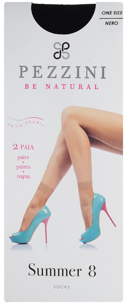 Носки женские Pezzini Summer 8, цвет: Nero (черный), 2 пары. Su8-ne-un. Размер универсальныйSu8-ne-unУдобные женские носки Pezzini Summer 8, изготовленные из высококачественного эластичного полиамида, идеально подойдут для повседневной носки. Входящий в состав материала полиамид обеспечивает износостойкость, а эластан позволяет носочкам легко тянуться, что делает их комфортными в носке.Эластичная резинка плотно облегает ногу, не сдавливая ее, обеспечивая комфорт и удобство и не препятствуя кровообращению. Практичные и комфортные носки с укрепленным прозрачным мыском великолепно подойдут к любой открытой обуви. В комплект входят 2 пары носков. Плотность: 8 den.Уважаемые клиенты! Обращаем ваше внимание на возможные изменения в дизайне упаковки. Качественные характеристики товара остаются неизменными. Поставка осуществляется в зависимости от наличия на складе.