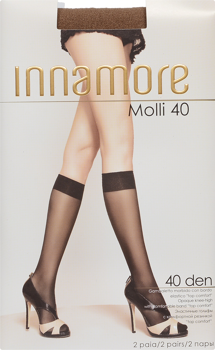 Гольфы женские Innamore Molli 40, цвет: Daino (загар), 2 пары. 6013. Размер универсальный6013Стильные гольфы Innamore Molli 40, изготовленные из эластичного полиамида, идеально дополнят ваш образ в прохладную погоду.Шелковистые гольфы легко тянутся, что делает их комфортными в носке. Гладкие и мягкие на ощупь, они имеют резинку top comfort и укрепленный мысок. Идеальное облегание и комфорт гарантированы при каждом движении. В комплект входят 2 пары гольф.Плотность: 40 den.Уважаемые клиенты! Обращаем ваше внимание на то, что упаковка может иметь несколько видов дизайна. Поставка осуществляется в зависимости от наличия на складе.