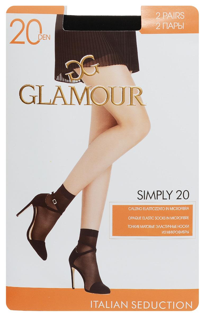 Носки женские Glamour Simply 20, цвет: Nero (черный), 2 пары. 25825. Размер универсальный25825Удобные женские носки Glamour Simply 20, изготовленные из высококачественного эластичного полиамида, идеально подойдут для повседневной носки. Входящий в состав материала полиамид обеспечивает износостойкость, а эластан позволяет носочкам легко тянуться, что делает их комфортными в носке.Эластичная резинка плотно облегает ногу, не сдавливая ее, обеспечивая комфорт и удобство и не препятствуя кровообращению. Практичные и комфортные носки с укрепленным мыском великолепно подойдут к любой открытой обуви. В комплект входят 2 пары носков.