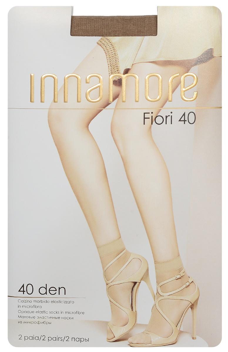 Носки женские Innamore Fiori 40, цвет: Daino (загар), 2 пары. 5768. Размер универсальный5768Удобные женские носки Innamore Fiori 40, изготовленные из высококачественного эластичного полиамида, идеально подойдут для повседневной носки. Входящий в состав материала полиамид обеспечивает износостойкость, а эластан позволяет носочкам легко тянуться, что делает их комфортными в носке.Эластичная резинка плотно облегает ногу, не сдавливая ее, обеспечивая комфорт и удобство и не препятствуя кровообращению. Практичные и комфортные носки великолепно подойдут к любой открытой обуви. В комплект входят 2 пары носков.