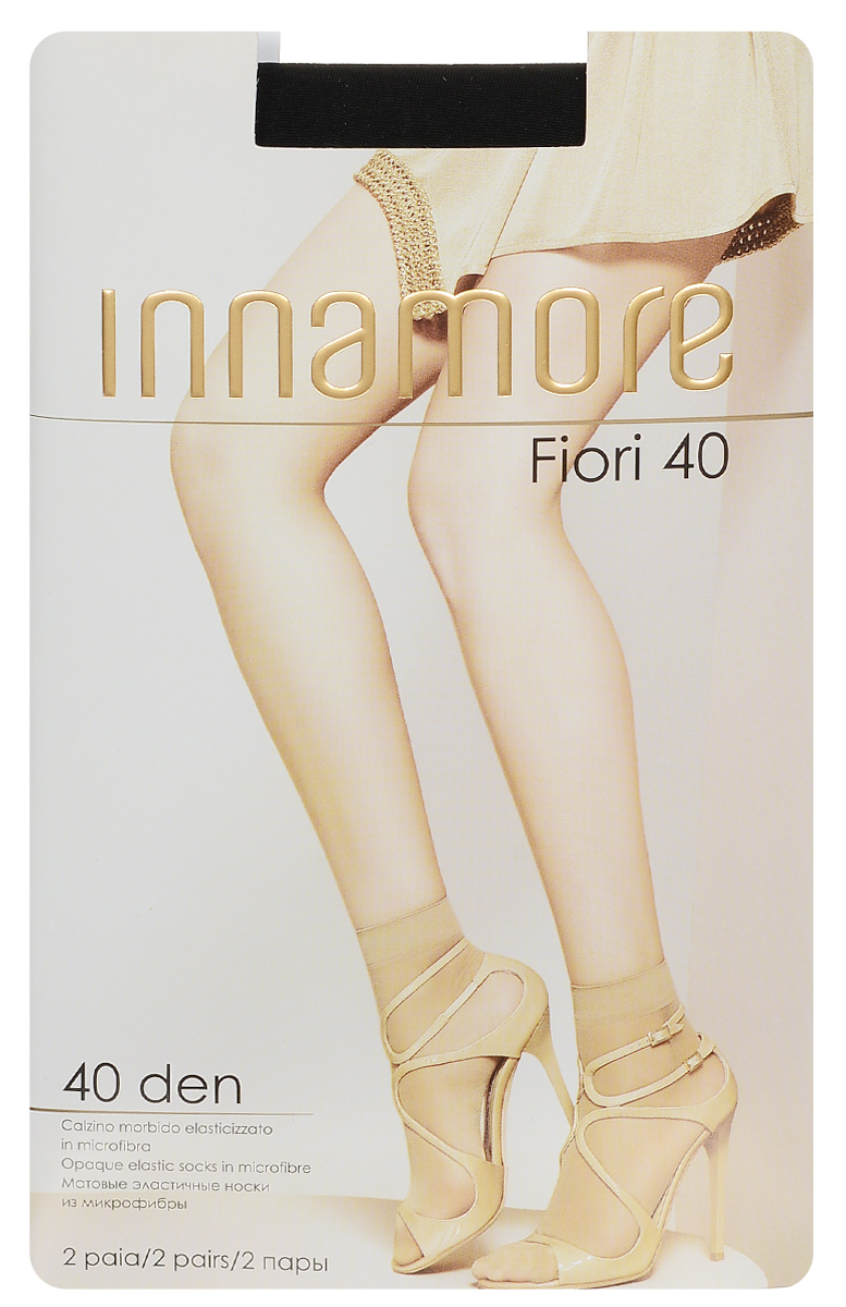 Носки женские Innamore Fiori 40,, цвет: Nero (черный), 2 пары. 5768. Размер универсальный5768Удобные женские носки Innamore Fiori 40, изготовленные из высококачественного эластичного полиамида, идеально подойдут для повседневной носки. Входящий в состав материала полиамид обеспечивает износостойкость, а эластан позволяет носочкам легко тянуться, что делает их комфортными в носке.Эластичная резинка плотно облегает ногу, не сдавливая ее, обеспечивая комфорт и удобство и не препятствуя кровообращению. Практичные и комфортные носки великолепно подойдут к любой открытой обуви. В комплект входят 2 пары носков.