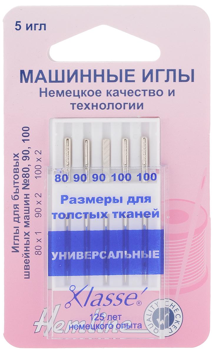 """Набор игл для швейных машин """"Hemline"""", универсальные, №80, 90, 100, 5 шт"""