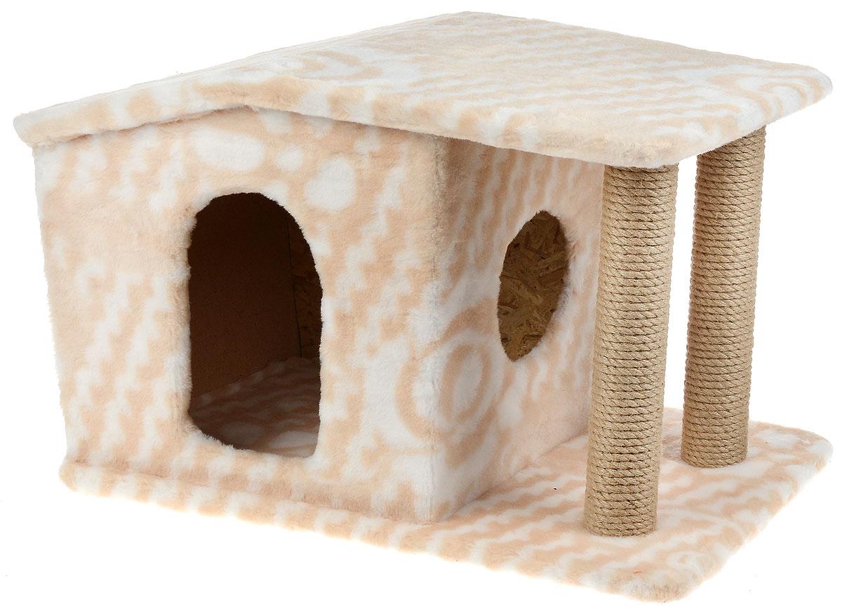 Игровой комплекс для кошек Меридиан Патриция, с домиком и когтеточкой, цвет: белый, бежевый , 63 х 40 х 41 см цена