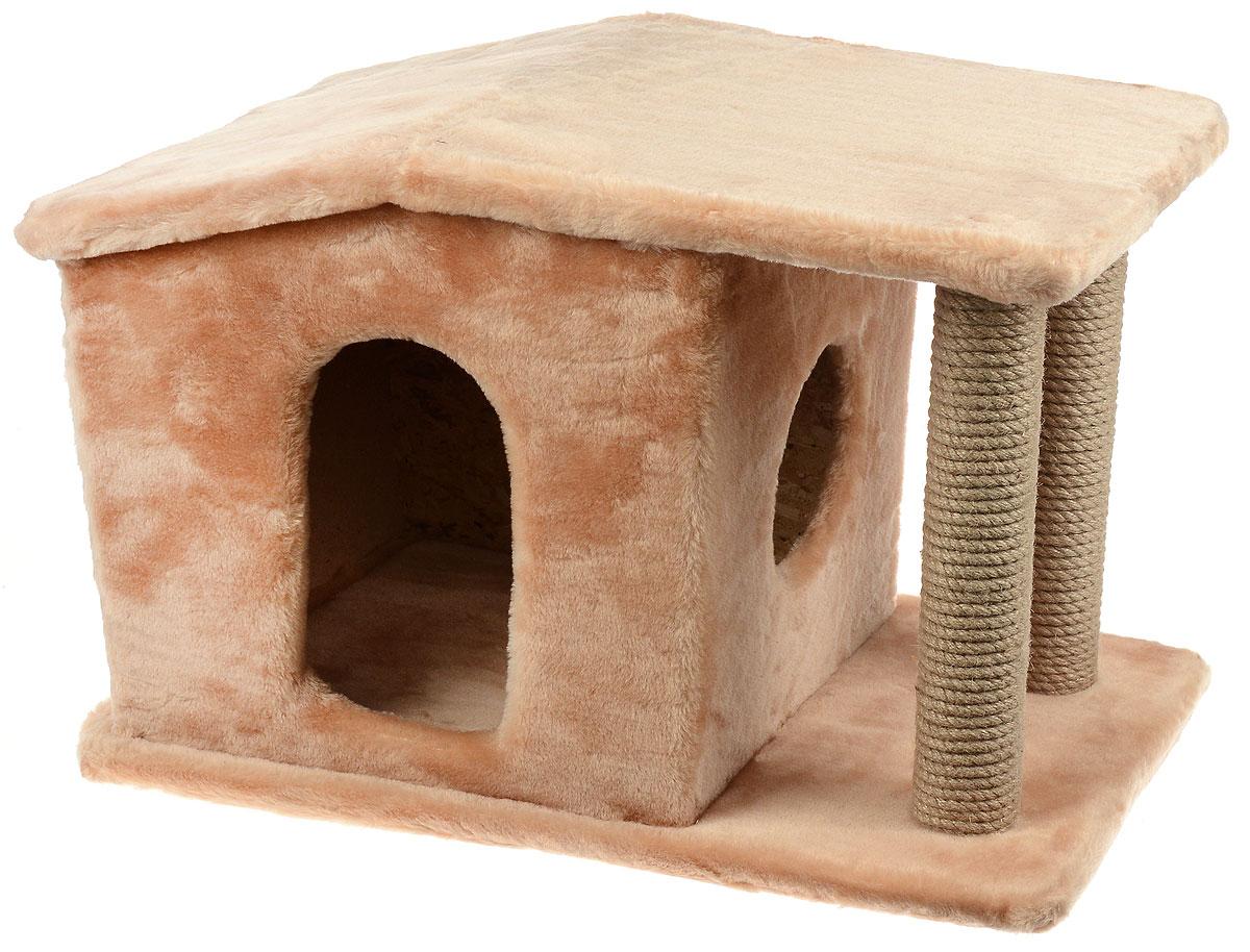 Игровой комплекс для кошек Меридиан Патриция, с домиком и когтеточкой, цвет: светло-коричневый, бежевый , 63 х 40 х 41 смД376 СКИгровой комплекс для кошек Меридиан Патриция выполнен из высококачественного ДВП и ДСП и обтянут искусственным мехом. Изделие предназначено для кошек. Ваш домашний питомец будет с удовольствием точить когти о специальные столбики, изготовленные из джута. А отдохнуть он сможет в оригинальном домике.