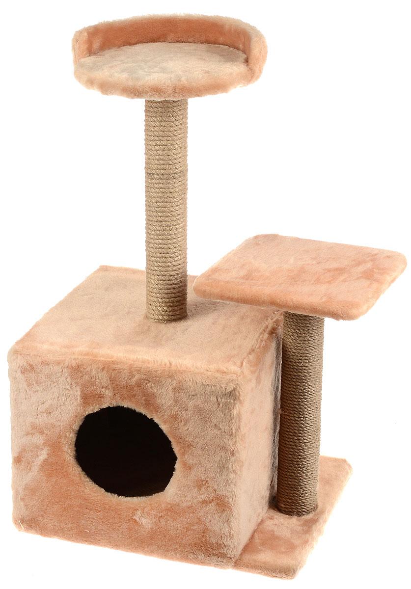Игровой комплекс для кошек Меридиан, с домиком и когтеточкой, цвет: светло-коричневый, бежевый, 35 х 45 х 75 смД130 СКИгровой комплекс для кошек Меридиан выполнен из высококачественного ДВП и ДСП и обтянут искусственным мехом. Изделие предназначено для кошек. Ваш домашний питомец будет с удовольствием точить когти о специальные столбики, изготовленные из джута. А отдохнуть он сможет либо на полках разной высоты, либо в расположенном внизу домике.Общий размер: 35 х 45 х 75 см.Размер домика: 46 х 37 х 33 см.Высота полок (от пола): 74 см, 45 см.Размер полок: 27 х 27 см, 26 х 26 см.Уважаемые клиенты!Обращаем ваше внимание на расположение домика и когтеточки, они могут располагаться как слева, так и справа. Поставка возможна в зависимости от наличия на складе.