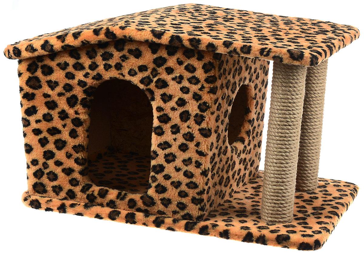 Игровой комплекс для кошек Меридиан Патриция, с домиком и когтеточкой, цвет: коричневый, черный, бежевый , 63 х 40 х 41 смД376 ЛеИгровой комплекс для кошек Меридиан Патриция выполнен из высококачественного ДВП и ДСП и обтянут искусственным мехом. Изделие предназначено для кошек. Ваш домашний питомец будет с удовольствием точить когти о специальные столбики, изготовленные из джута. А отдохнуть он сможет в оригинальном домике.