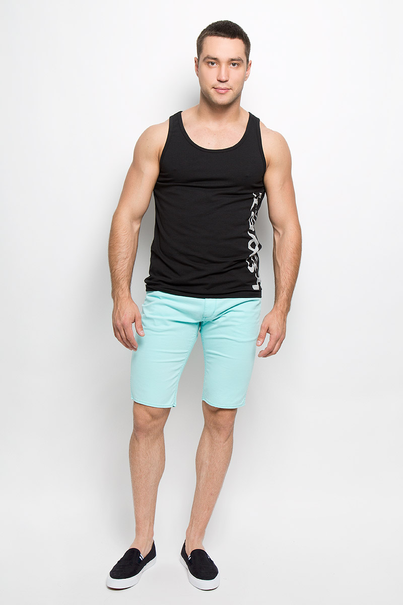 Майка мужская Lowry, цвет: черный. MML-287. Размер XXXL (56/58) плавки мужские lowry цвет черный фиолетовый msb 1 размер l 48