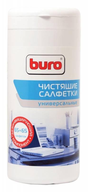 Салфетки чистящие универсальные Buro BU-Tmix, 65 шт влажных + 65 шт сухихBU-TMIXУниверсальные влажные чистящие салфетки. Предназначены для очистки любых поверхностей из пластика, металла и других материалов. В комплекте 65 влажных салфеток и 65 сухих салфеток.