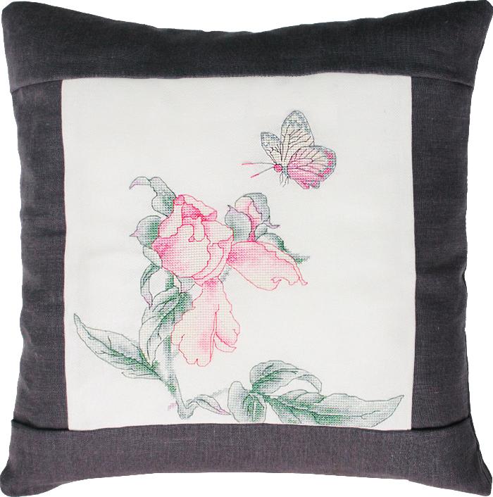 "Набор для вышивания подушки Luca-S ""Цветок и бабочка"", 40 х 40 см. PB105"
