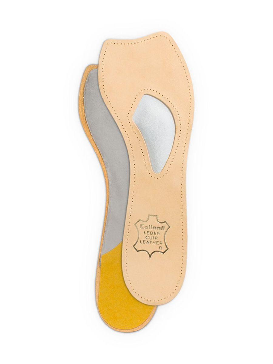 """Самоклеющиеся кожаные стельки Collonil """"Madame"""" оснащены встроенными подушечками для поддержания тонуса мышц ступни. Они защищают мышцы плюсны от перенапряжения, предотвращают смещение стопы при ходьбе. Не изменяют внешний вид обуви с открытым носком. Предотвращают появление мозолей. Отлично подходят для обуви на высоком каблуке. Размер: 37. Количество: 2 шт."""