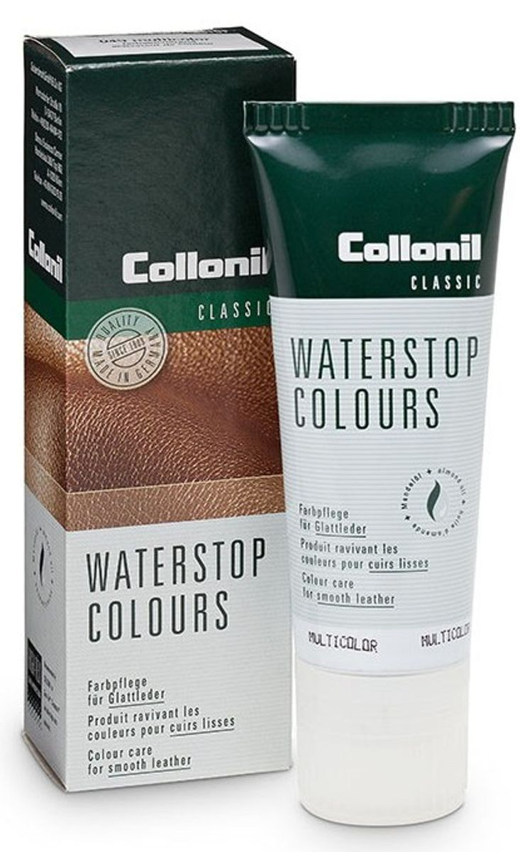 Крем для обуви Collonil Waterstop Colours, снего-водоотталкивающий, цвет: темно-синий, 75 мл3303 546Водоотталкивающий крем Collonil Waterstop Colours предназначен для ухода за всеми видами гладкой кожи. Защищает от влаги и ухаживает за кожей благодаря фтороуглеродным соединениям. Предохраняет изделия от глубоких загрязнений и солевых разводов. Содержит воск и миндальное масло, интенсивно смягчающее и ухаживающие за кожей.Объем: 75 мл. Товар сертифицирован.