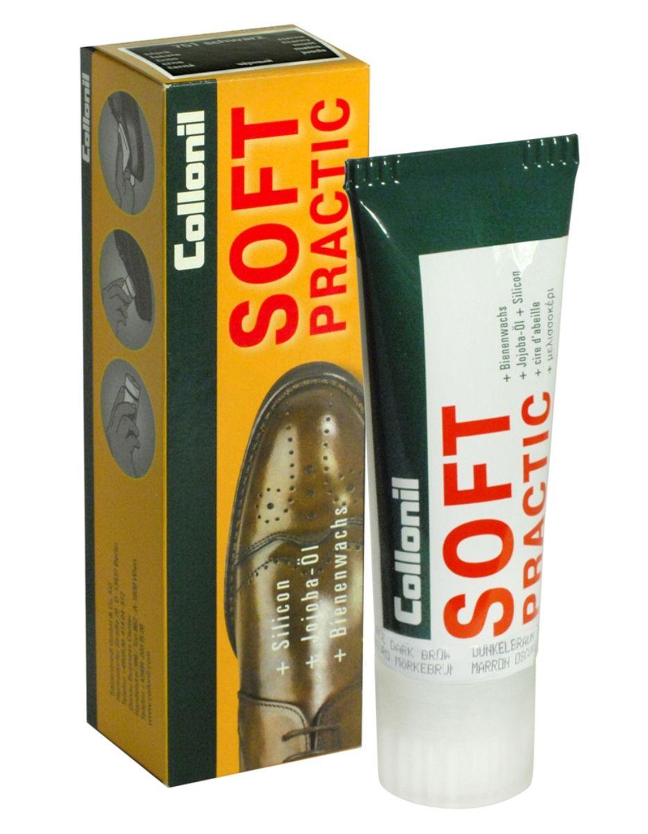 Крем для обуви Collonil Soft Practic, с маслом жожоба, цвет: темно-коричневый, 75 мл3763 399Крем Collonil Soft Practic предназначен для ухода за изделиями из деликатной гладкой кожи, такой как анилин, наппа, браш и другие. Пчелиный воск защищает от влаги и глубоких загрязнений, масло жожоба ухаживает за кожей и смягчает ее, а силикон освежает цвет и придает блеск изделиям.Объем: 75 мл. Товар сертифицирован.