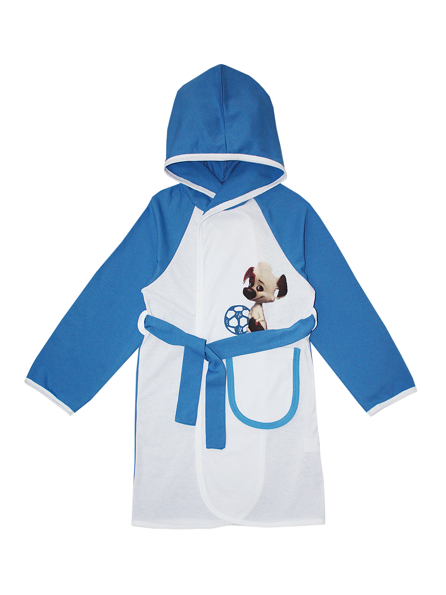 Халат для мальчика КотМарКот, цвет: белый, голубой. 12207. Размер 116, 6 лет12207Детский халат на запах КотМарКот выполнен из натурального хлопка.Модель средней длины с длинными рукавами-реглан и несъемным капюшоном имеет узкий текстильный пояс, дополнена шлевками. Спереди располагается накладной карман. На груди модель украшена небольшим принтом с изображением собаки с футбольным мячом. Рукава, капюшон и спинка выполнены в контрастном цвете.