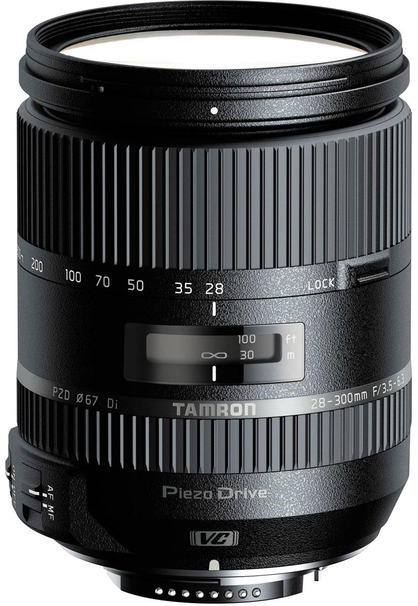 Tamron 28-300mm F/3.5-6.3 Di VC PZD объектив для NikonA010NМощный 10,7-кратный объектив Tamron 28-300mm F/3.5-6.3 Di VC PZD оптимизирован для использования с цифровыми зеркальными фотокамерами, о чем говорит аббревиатура Di (Digital) в его названии. Однако модель может без каких-либо ограничений использоваться с пленочными или полнокадровыми цифровыми SLR-камерами. При работе с неполнокадровыми зеркальными камерами поле зрения объектива приблизительно соответствует фокусным расстояниям в диапазоне от стандартного до ультрателе (44 - 465 мм в 35-мм экв.). Поэтому модель станет оптимальным выбором для фотографов-путешественников, ищущих универсальный объектив на все случаи жизни.В конструкции используется элемент из стекла XR с высоким индексом преломления, который, так же как и входящие в оптическую схему два элемента из низкодисперсионного стекла LD, оптимизирует общее распределение освещения и сводит к минимуму вероятность возникновения аберраций. В оптической схеме также имеются три гибридные асферические линзы (одна из них - линза AD из стекла с аномальной дисперсией), что и позволило сократить размеры объектива, не жертвуя качеством изображения. Специальное покрытие внутренних поверхностей объектива и многослойное просветление оптических элементов практически исключает блики и переотражения света как от линз, так и от светочувствительной матрицы цифровой камеры.Особая конструкция оптической схемы предупреждает снижение качества изображения вследствие изменения угла падения световых лучей на матрицу при зумировании. При любом фокусном расстоянии объектив обеспечивает получение изображений с превосходным разрешением, великолепной яркостью по всей площади кадра от центра до периферии, высокой резкостью и правильной цветопередачей.Наведение резкости осуществляется при помощи механизма внутренней фокусировки. Это гарантирует высокую скорость и точность наведения резкости, а также, поскольку передний элемент в процессе работы остается неподвижным, упрощает использован